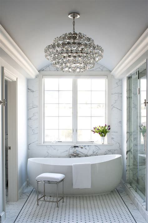 Modern Chandelier Bathtub by See How Chandeliers Can Illuminate Your Bathroom
