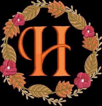 fall wreathe alphabet machine embroidery design letter