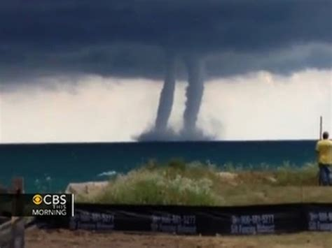 double waterspouts spotted  lake michigan youtube