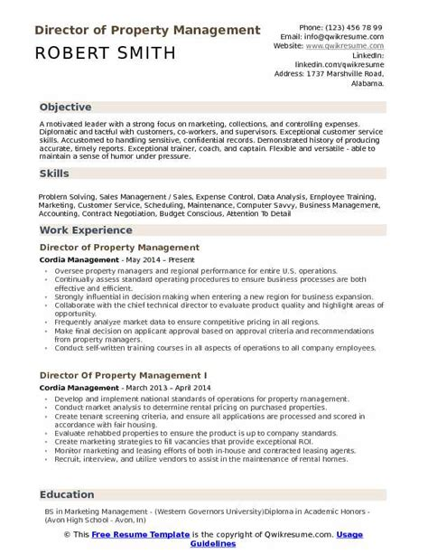 Property Management Resume by Director Of Property Management Resume Sles Qwikresume