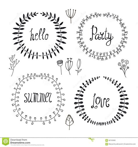 vector set of hand drawn wreaths floral borders stock