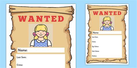 Goldilocks Wanted Poster Writing Frames