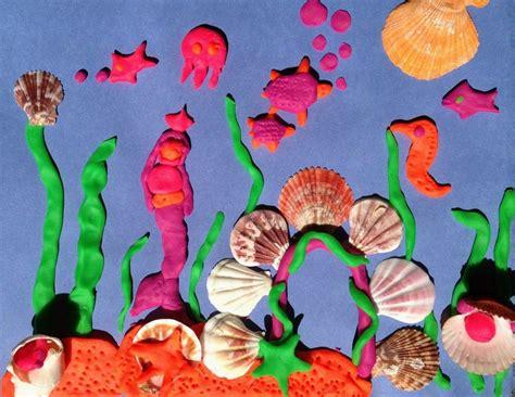 ocean play dough collage preschool art activities