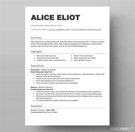 Free Resume Sles Templates by Free Resume Template Waiter Server Food Docx