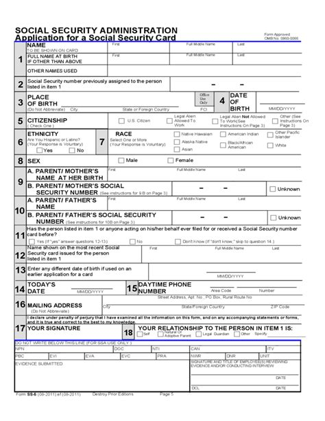 19611 social security application form application for a social security card free
