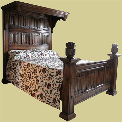 tester bed  solid oak handmade carved bed