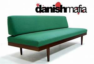 mid century danish modern teak sofa daybed couch eames With danish modern sofa bed