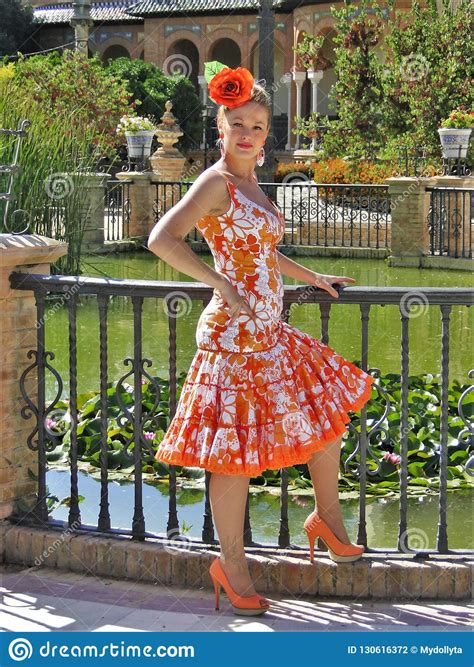 costume orange flamenco andalusian typical spanish traditional