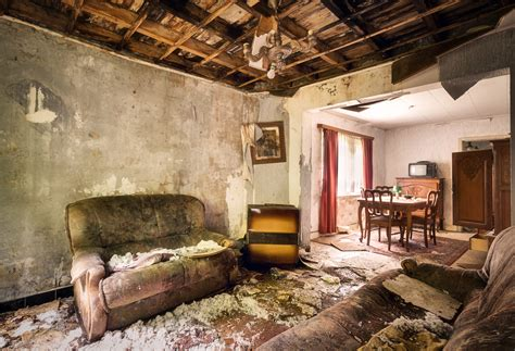 abandoned living rooms  decay urban
