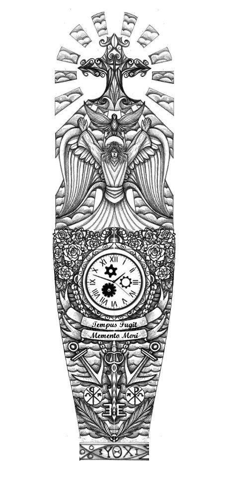 Religious full sleeve tattoo design by thehoundofulster | Tattoo idea | Tattoes | Pinterest