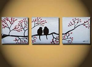 16 creative diy canvas paintings you can easily add to for What kind of paint to use on kitchen cabinets for love birds canvas wall art