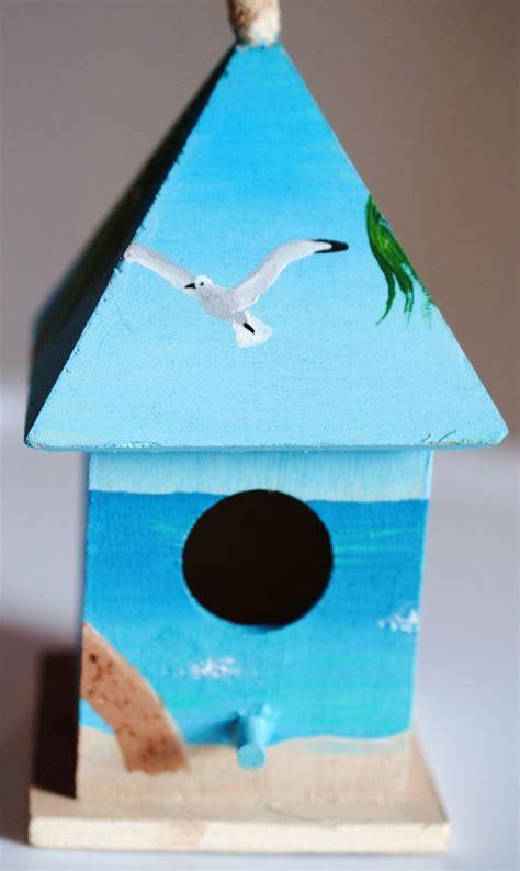 beach themed mini birdhouse painted