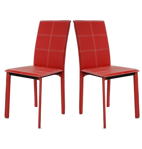 chaises rouges 4 chaises design pvc haute qualite chaise