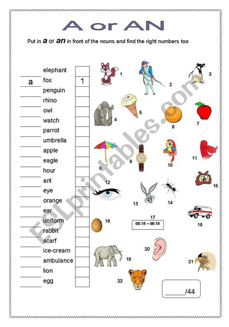 a or an esl worksheet by sivert 50
