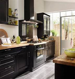 idee relooking cuisine cuisine bistrot lapeyre darty With cuisine repeinte en noir