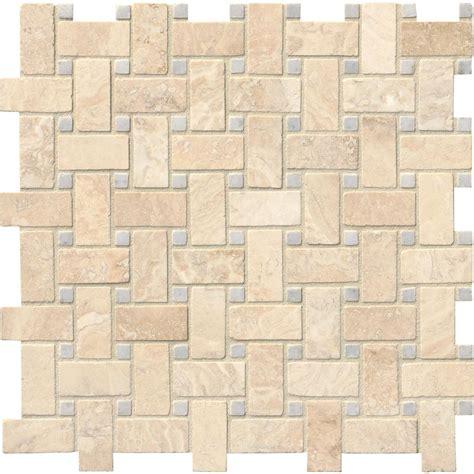 basketweave tile ms international alabastrino basketweave 12 in x 12 in x 10 mm honed travertine mesh mounted