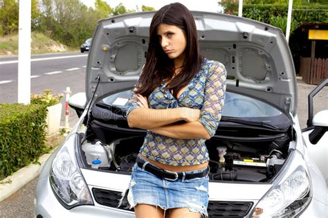 Beautiful Woman Sad With Broken Car Royalty Free Stock