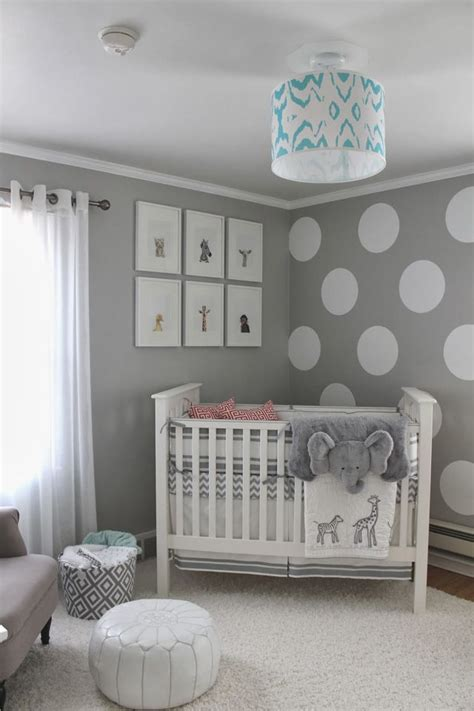 Babyzimmer Unisex Gestalten by Wandfarbe Grau Und Wand Streichen Muster Wei 223 E Punkte F 252 R