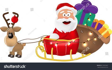 Illustration Santa Claus Riding His Christmas Stock Vector