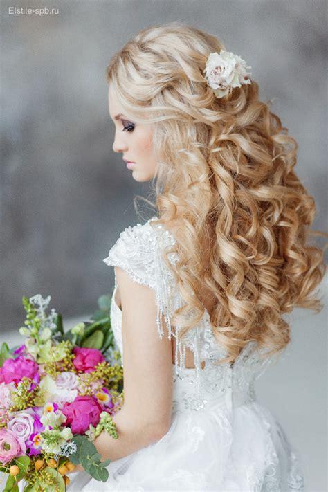 romantic long wedding hairstyles  flowers deer
