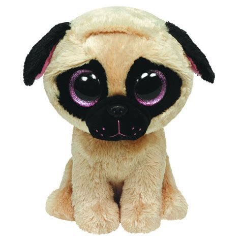 ty beanie boos pugsly  pug dog glitter eyes regular size   bbtoystorecom