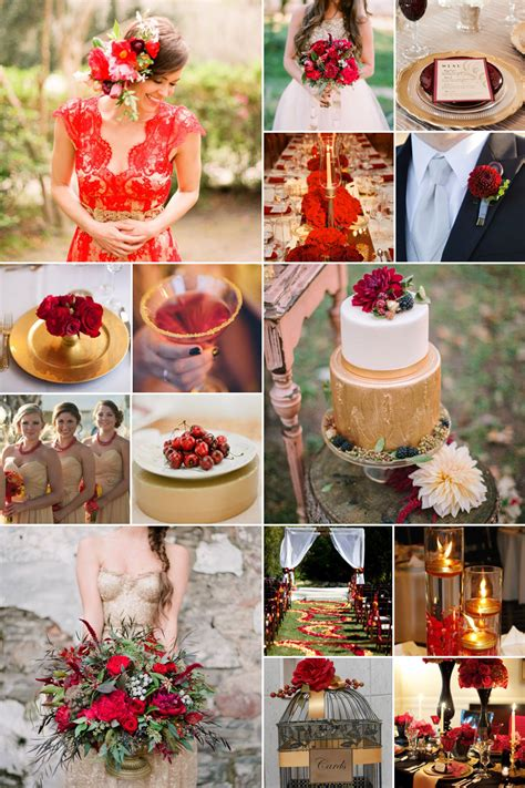 red  gold weddings