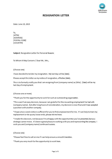 Resignation For Personal Reasons – resignation letter