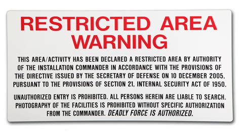 Military Access Control & Perimeter Signs