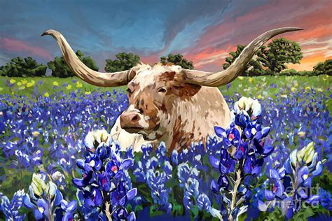 Longhorn In Bluebonnets Painting by Tim Gilliland