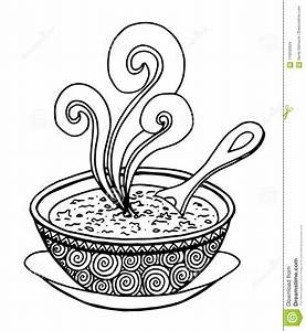 Black And White Simple Hand Drawn Doodle Of A Bowl Of Soup ...