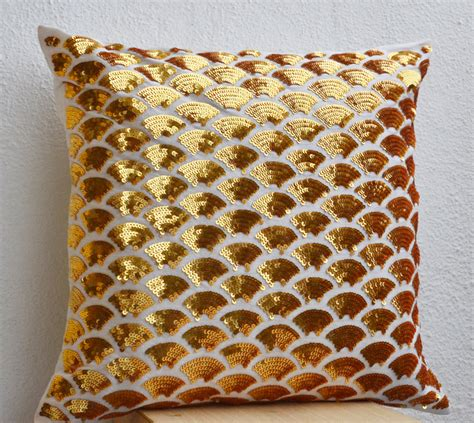 gold sequin pillow gold sequin pillows with embroidered waves gold pillow