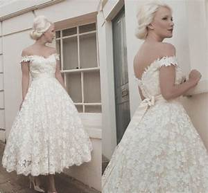 a line off shoulder white lace appliques vintage short With short white lace wedding dress