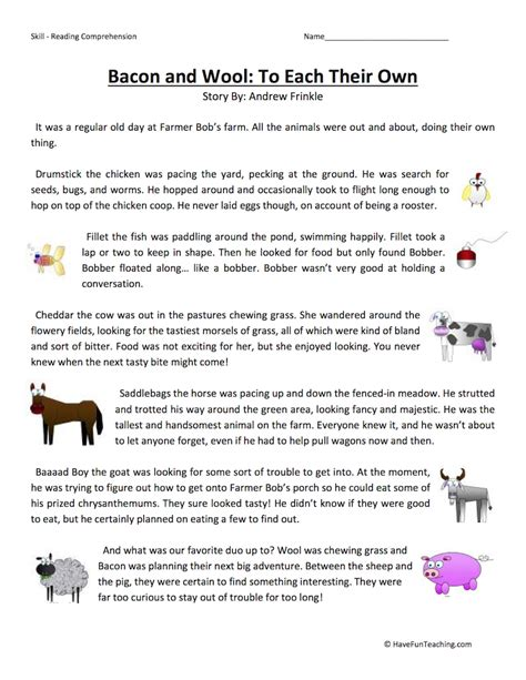 farm reading comprehension worksheets image collections