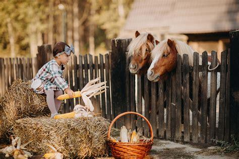 รูปภาพฟรี: เด็ก, สาวสวย, สาว, ม้า, วิลเลจ, การให้อาหาร ...