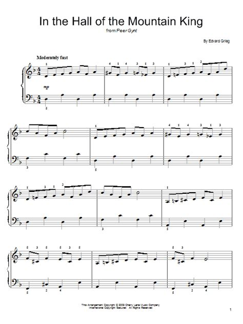 This is a simplified and shortened version of a part of the moonlight sonata by beethoven for easy piano solo. In The Hall Of The Mountain King Sheet Music | Edvard Grieg | Easy Piano