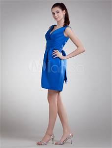 robe de soiree boule bleu royal en satin avec col v mini With robe de cocktail combiné avec capteur activité