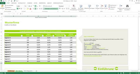 bcg matrix excel vorlage boston  portfolio bcg
