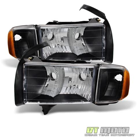 black 1999 2002 dodge ram sport model headlights headls