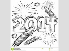 2014 New Year's Fireworks Vector Stock Photos Image