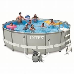 Piscine Tubulaire Intex : intex ultra frame pool set piscine ronde tubulaire 4 88 x ~ Nature-et-papiers.com Idées de Décoration