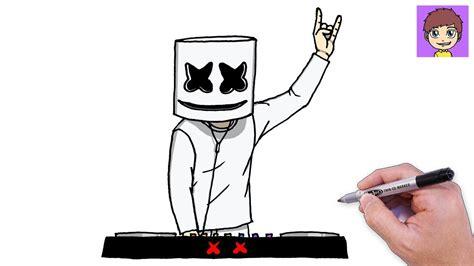 Como Dibujar a Marshmello DJ Paso a Paso Dibujos para