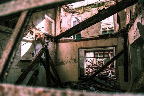 abandoned building full  graffiti  stock photo