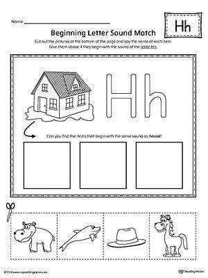 letter  beginning sound picture match worksheet letter