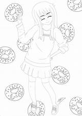 Donuts Coloring Drawing Sweet Donut Adult Anime Manga Mangas Waterfall Young Getdrawings Adults Influenced Animes sketch template
