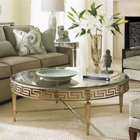 Elephant round coffee table glass top unique, natural accent in a living room. Lexington Tower Place Deerfield Round Glass Coffee Table ...