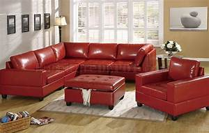 Red bonded leather 5pc modular sectional sofa w storage for Red leather sectional sofa with ottoman