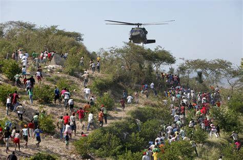 eyewitness helicopter water drop in haiti world news