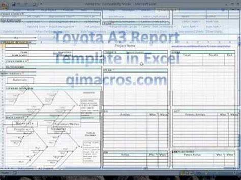 toyota  report template  excel pdca lean