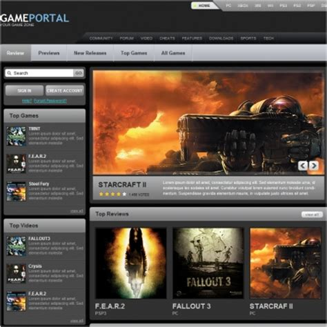 Game Portal Template Free Website Templates Css Html