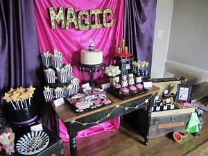 Magic cake, cupcakes, and candy layout in a magic theme ...